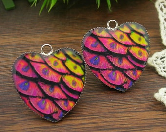 4Pcs Handmade Resin Pendants With Heart Pendant Base(HE-04)