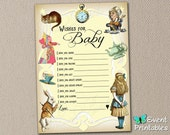 Printable Alice in Wonderland Wishes for Baby Card, Mad Libs Shower Game in Yellow, Neutral, INSTANT DOWNLOAD by Event Printables