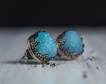 Light Blue Druzy Earrings- Sky Blue Druzy/Drusy Sterling Silver Studs-Druzy Jewelry-Gemstone Stud Earrings-Blue Stone Studs