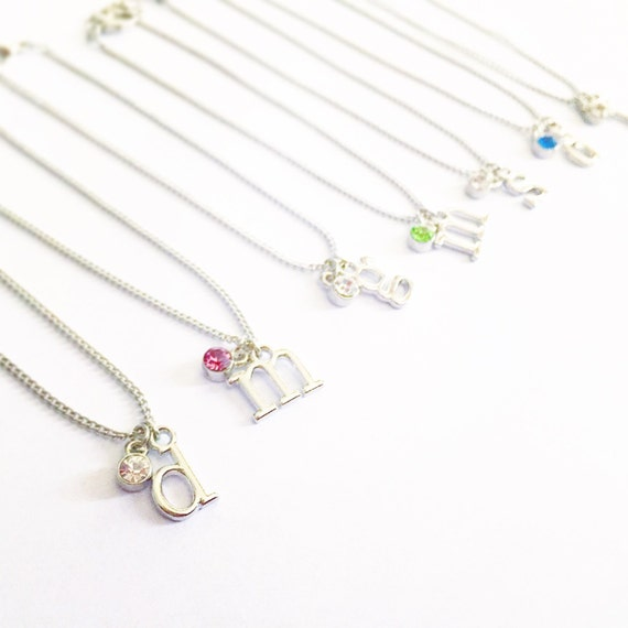 birthstone and initial silver charm bracelet by