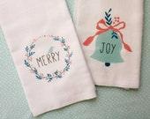 Holiday Kitchen 2 Towel Set, Christmas Kitchen Flour Sack Tea Towels, Hostess Gift, Home Decor, Gift Set