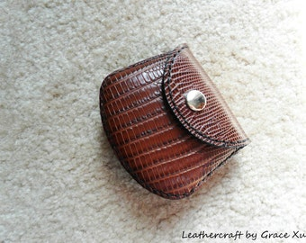 100% hand stitched handmade lizard embossed brown cowhide leather Ipod, ear buds, coin, trinket, jewelry,case / pouch