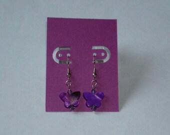 """1"""" L  x  1/4"""" W   Purple Shell Butterfly w/ Matching Crystal Earrings"""