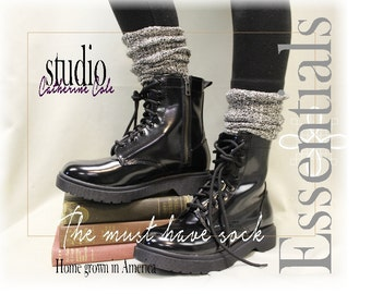 ESSENTIALS  CHARCOAL basic womens tweed slouch sock combat boot socks short boot socks cowboy boot sock Catherine Cole Studio SLX0
