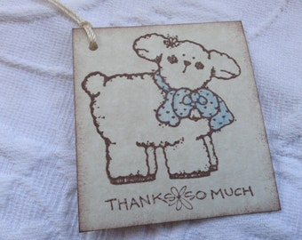 Baby Lamb Thank You Tags - Baby Boy Shower Favor Girft Tags - Set of 12