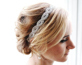 SALE crystal beaded wedding head band , bridal haed band , crystal head band