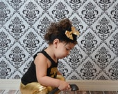 Shabby Chic Big Bows Headband Gold Sparkly