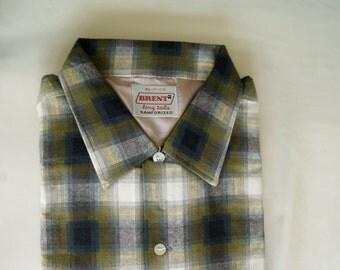 NOS - XL - 1950s - Rockabilly - Shirt - Deadstock - Never Worn - Shadow Plaid