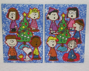 Charlie Brown Christmas Postcard Card Gift Frame Mom Dad Friend Child Thank You Holiday Room Decor -Set of two 4 x6 fabric quilted postcards