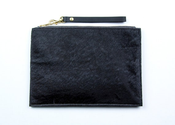 SALE. Black Leather Clutch. Black Hair on Hide Clutch. Black Wristlet. Pony Hair Clutch