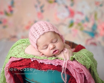 Molly Mohair Newborn Bonnet (ready to ship) - newborn bonnet with alpaca mohair, newborn photography prop