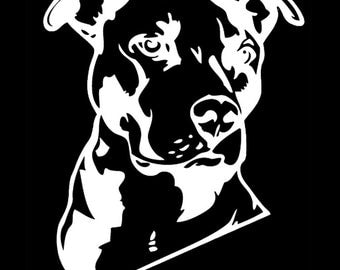 Pit Bull W/ Natural Ears Vinyl Decal - Pit Bull Decal