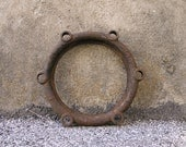 Industrial Supply, Mirror or clock frame, Nautical Round Cast Iron, Altered Art Material, Garden Decor