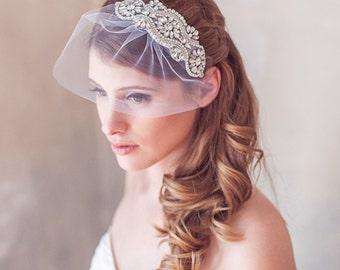 Birdcage veil, Rhinestone Veil, Crystal Veil, Rhinestone Blusher Veil, Crystal bridal Headpiece, Wedding Veil, Diamonte Crystal Bridal Veil
