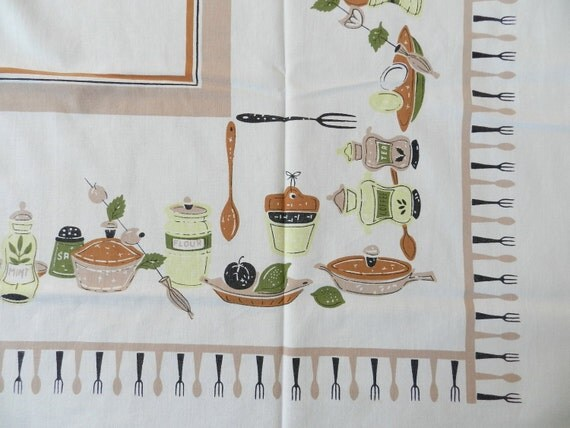 Vintage Kitchen Pantry Basics Cotton Tablecloth Salt Pepper Flour Sugar Coffee Tea with Forks and Spoons Border