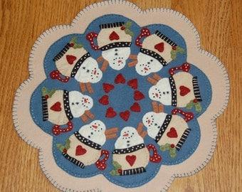 Santa's Cocoa Penny Wool Candle Mat