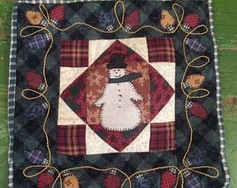 Handmade Snowman quilted pillow cover