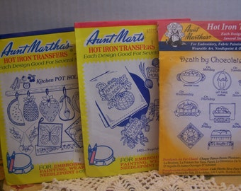 Vintage Aunt Martha  Kitchen Theme, Death by Chocolate, Pot Holders Hot Iron Transfers for  Embroidery (no. 17)