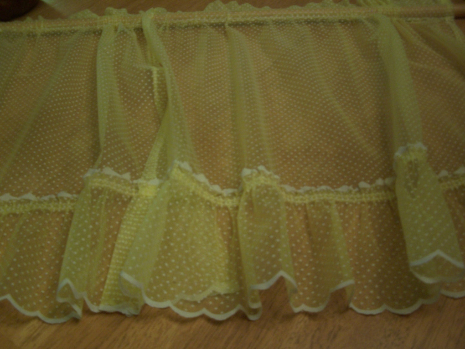 Cute Vintage Lemon Yellow Dotted Swiss Sheer Cafe Curtain Pair