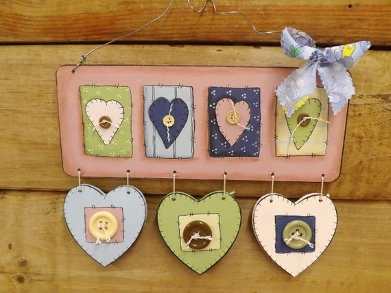 Items similar to hearts and buttons wall decor wooden for Wooden heart wall decor