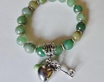 Quartz Natural Green #Quartz #Natural And #Silver Charmed Bracelet