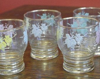vintage set of 4 textured tumbler glasses 1960