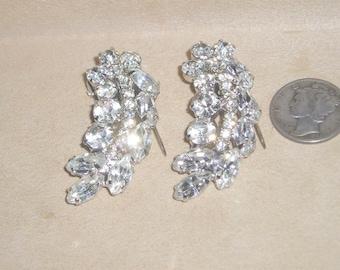 Vintage Pair Rhinestone Fur Clips Rhodium Plated Prong Set 1940's Jewelry 2136
