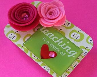 Teacher's Gift Card Holder, Keepsake Mini Altered Tin, Green Apples