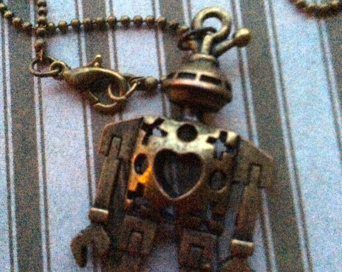 Jewelry Necklace, Steampunk Necklace, Robot Necklace, Mens Robot Necklace