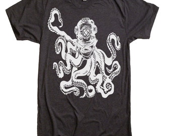 Octopus deep sea diver T-Shirt - Unisex Tshirt - Deep Sea Diver Octopus Nautical Tee Shirt - Novelty Gifts Ideas Present - Dads