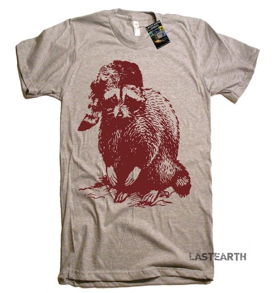 Mens Raccoon Woodland T Shirt tee - Out Doors Camping Camp Hike Hiker Nature Tee Woods TShirt - Gift Idea For Him Her Men Women Kids