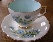 RESERVED YU Vintage Sutherland Staffordshire England Bone China Tea Cup & Saucer Blue Floral