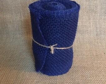 "Blue Burlap Ribbon Roll 5.5"" x 15ft Patriotic July USA"