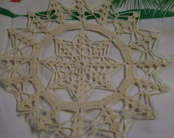 Vintage Crochet Doily with Snowflake Hand Made 1960s