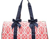 Monogrammed Coral and Navy Duffel~ Quilted Coral Duffle~ Personalized Coral Duffel~ Monogrammed Duffle Bag