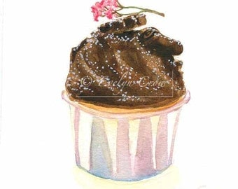 Cupcake 35 - Original Watercolor Painting 8x6 inches