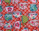 "W274A  - Vinyl Waterproof Fabric - cups (red) -  27""x19""(70cmX50cm)"