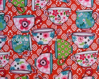 "W274A  - Vinyl Waterproof Fabric - cups (red) -  27""x19""(70cmX50cm)"