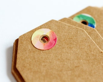 20 Watercolour Rings Kraft Gift Tags with Twine