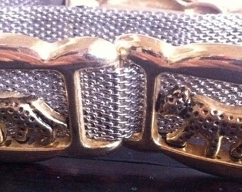 Vintage metal mesh belt with cheetah detail