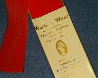 Vintage Velvet Crush Resistant Faille Back Ribbon - by the yard - fluorescent red