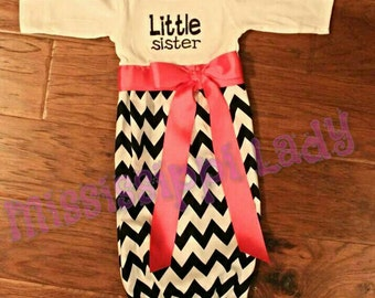 Little Sister Chevron Sibling Outfit Layette