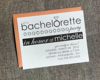 bachelorette customizable party invitations with diamond ring