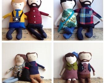 Custom Couple Folk Dolls
