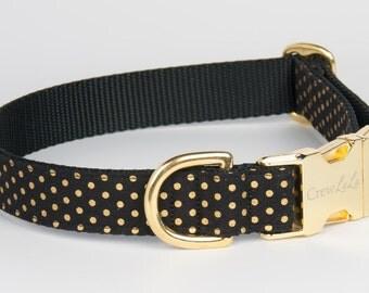 Black & Gold Dot Dog Collar