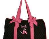 Personalized Black Dance Duffel Bag With Embroidered Ballet Shoes & Name with Solid Hot Pink Ribbon Trim