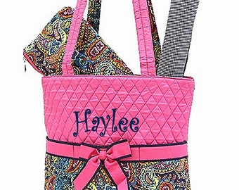 SALE Personalized Paisley Diaper Bag Set- 3 piece set -  baby girl - Momogram Free