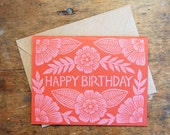 Set of Six Block Printed Happy Birthday Cards