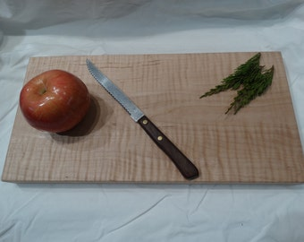 Curly maple cutting board - natural wood cutting board