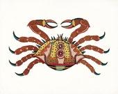 Coastal Decor Fanciful Crab Print No. 2